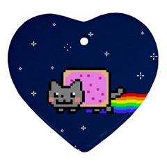 Nyan Cat Ornament (heart)  by Onesevenart