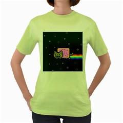 Nyan Cat Women s Green T Shirt by Onesevenart