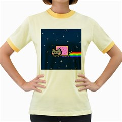 Nyan Cat Women s Fitted Ringer T Shirts by Onesevenart