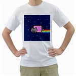 Nyan Cat Men s T-Shirt (White) (Two Sided)