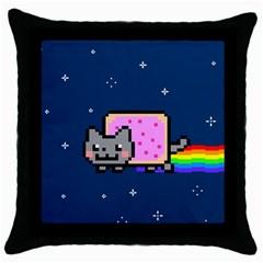 Nyan Cat Throw Pillow Case (black) by Onesevenart