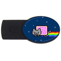 Nyan Cat Usb Flash Drive Oval (2 Gb)  by Onesevenart