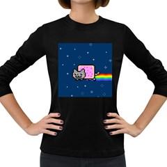 Nyan Cat Women s Long Sleeve Dark T Shirts by Onesevenart