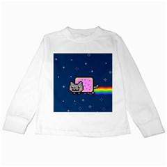 Nyan Cat Kids Long Sleeve T Shirts by Onesevenart