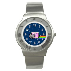 Nyan Cat Stainless Steel Watch by Onesevenart