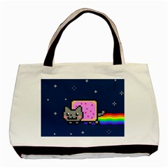 Nyan Cat Basic Tote Bag by Onesevenart