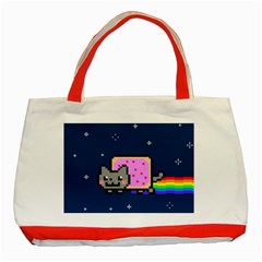 Nyan Cat Classic Tote Bag (red) by Onesevenart