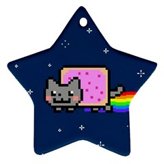 Nyan Cat Star Ornament (two Sides)  by Onesevenart