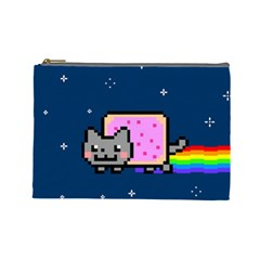 Nyan Cat Cosmetic Bag (large)  by Onesevenart