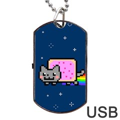 Nyan Cat Dog Tag Usb Flash (two Sides)  by Onesevenart