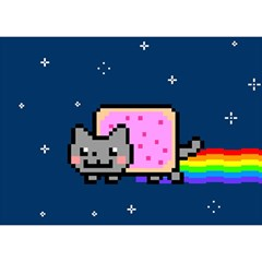 Nyan Cat Birthday Cake 3d Greeting Card (7x5) by Onesevenart