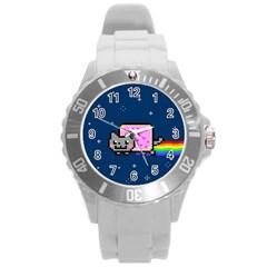 Nyan Cat Round Plastic Sport Watch (l) by Onesevenart