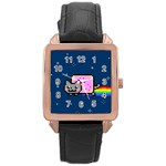 Nyan Cat Rose Gold Leather Watch