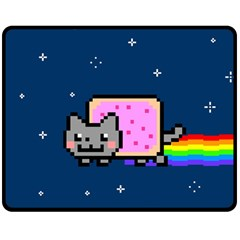 Nyan Cat Double Sided Fleece Blanket (medium)  by Onesevenart