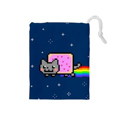 Nyan Cat Drawstring Pouches (medium)  by Onesevenart