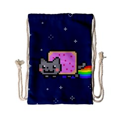 Nyan Cat Drawstring Bag (small) by Onesevenart