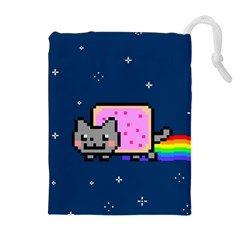 Nyan Cat Drawstring Pouches (extra Large) by Onesevenart