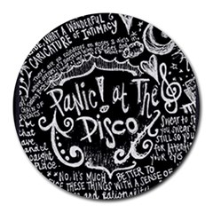 Panic ! At The Disco Lyric Quotes Round Mousepads by Onesevenart