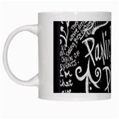 Panic ! At The Disco Lyric Quotes White Mugs by Onesevenart