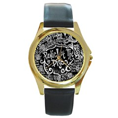 Panic ! At The Disco Lyric Quotes Round Gold Metal Watch by Onesevenart