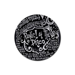 Panic ! At The Disco Lyric Quotes Rubber Coaster (round)  by Onesevenart