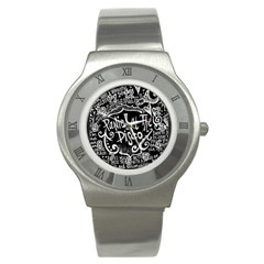 Panic ! At The Disco Lyric Quotes Stainless Steel Watch by Onesevenart