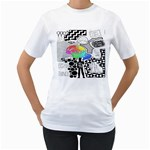 Panic ! At The Disco Women s T-Shirt (White) (Two Sided)