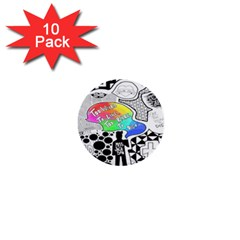 Panic ! At The Disco 1  Mini Buttons (10 Pack)  by Onesevenart