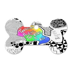 Panic ! At The Disco Dog Tag Bone (one Side) by Onesevenart