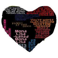 Panic At The Disco Northern Downpour Lyrics Metrolyrics Large 19  Premium Flano Heart Shape Cushions by Onesevenart
