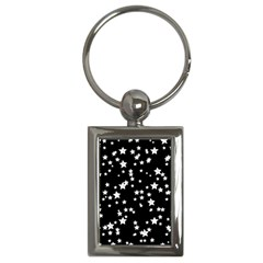 Black And White Starry Pattern Key Chains (rectangle)  by DanaeStudio