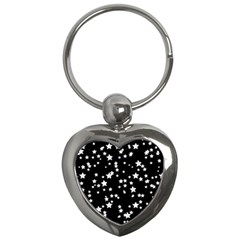 Black And White Starry Pattern Key Chains (heart)  by DanaeStudio