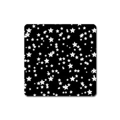 Black And White Starry Pattern Square Magnet by DanaeStudio