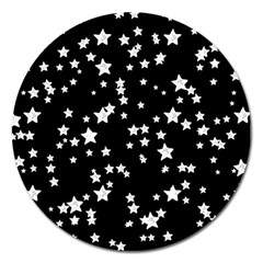 Black And White Starry Pattern Magnet 5  (round) by DanaeStudio