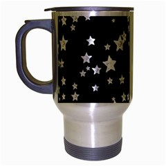 Black And White Starry Pattern Travel Mug (silver Gray) by DanaeStudio