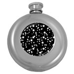 Black And White Starry Pattern Round Hip Flask (5 oz)