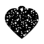 Black And White Starry Pattern Dog Tag Heart (Two Sides)