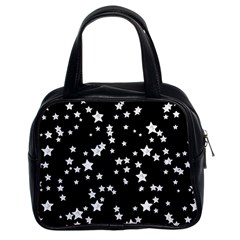 Black And White Starry Pattern Classic Handbags (2 Sides) by DanaeStudio