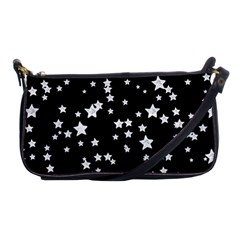 Black And White Starry Pattern Shoulder Clutch Bags by DanaeStudio