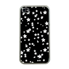 Black And White Starry Pattern Apple Iphone 4 Case (clear) by DanaeStudio