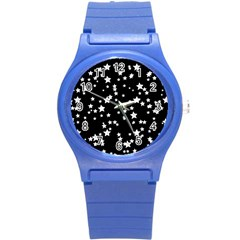 Black And White Starry Pattern Round Plastic Sport Watch (s) by DanaeStudio