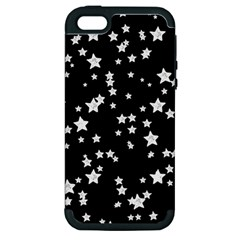 Black And White Starry Pattern Apple Iphone 5 Hardshell Case (pc+silicone) by DanaeStudio