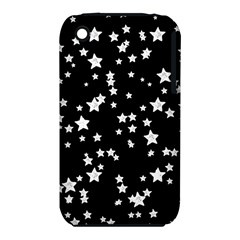 Black And White Starry Pattern Apple Iphone 3g/3gs Hardshell Case (pc+silicone) by DanaeStudio