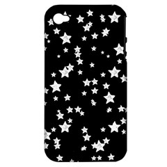 Black And White Starry Pattern Apple Iphone 4/4s Hardshell Case (pc+silicone) by DanaeStudio