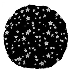 Black And White Starry Pattern Large 18  Premium Round Cushions by DanaeStudio