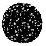 Black And White Starry Pattern Large 18  Premium Round Cushions