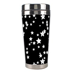 Black And White Starry Pattern Stainless Steel Travel Tumblers by DanaeStudio