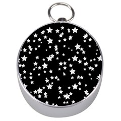 Black And White Starry Pattern Silver Compasses by DanaeStudio