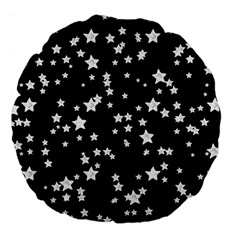Black And White Starry Pattern Large 18  Premium Flano Round Cushions by DanaeStudio