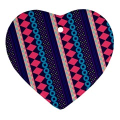 Purple And Pink Retro Geometric Pattern Ornament (heart)  by DanaeStudio